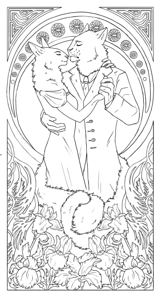 the whole art nouveau this is a lot of fun to do actually though the line weight needs some work but that's for future reference time to color