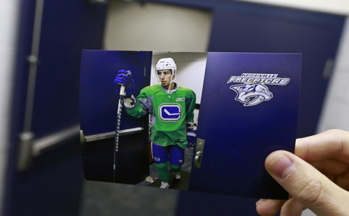 dear-photograph:   Dear Photograph,Vancouver Canucks forward Alex Burrows makes his way to the ice at Bridgestone Arena in Nashville. The original photograph was taken two years ago, while we shot this during a road trip on April 15th, 2013.-Vancouver Canucks*Submit your #DearCanucks photo to the Canucks by a tweet it or post it on Instagram using the hashtag #DearCanucks.*