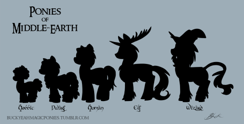 Ponies of Middle-Earth relative sizes chart.