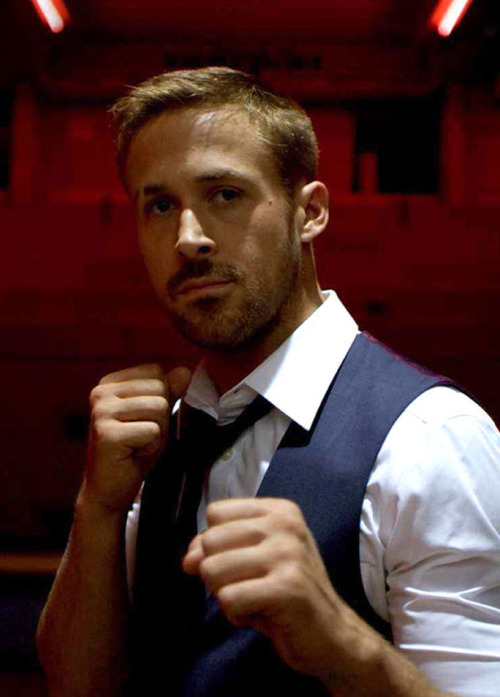 Film Fashion: Only Dog Forgives Continuing our love affair with Ryan Gosling, the trailer for Only God Forgives just dropped, Baby Goose's followup project with Drive director Nicolas Winding Refn. Check out that killer shirt/tie/vest combo in the perfect shade of midnight blue. 3 Piece Suit: Bespoke (alternatives: Reiss , Topman)  |  White Shirt: Ralph Lauren Black Label  |  Tie: Vintage (alternatives: Turnbull & Asser , Lanvin) |  Shoes: Church's Red-Band trailer here
