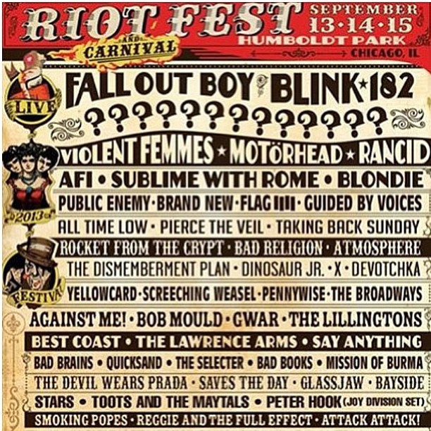 We may need to make a return trip to #Chicago this fall for #riot #fest to many rad #bands to miss. #music #festival @_gorejess_