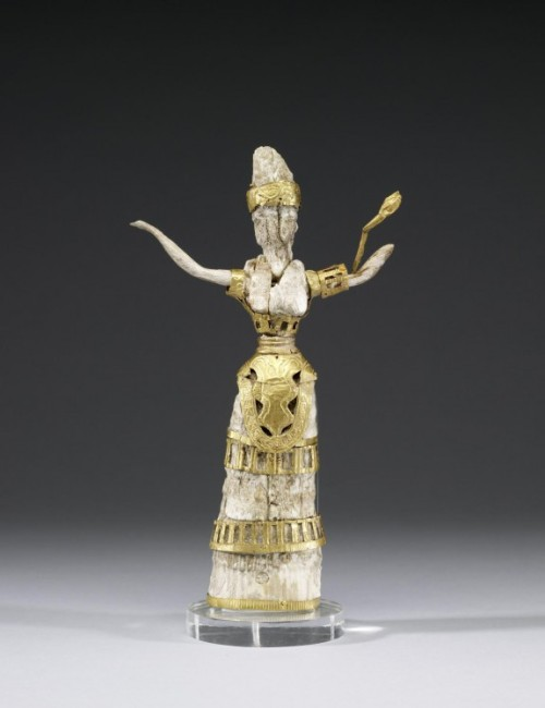 """Ivory and Gold Statue of Priestess or Goddess Minoan c.16th Century BC Despite the delicate nature of the precious gold and ivory materials, the stance of this small figurine conveys power and strength. It closely resembles ceramic statuettes identified as goddesses or priestesses found in the sanctuary space known as the """"Pillar Shrine"""" within the Minoan palace of Cnossus, Crete. The snakes adorning the figure are symbolic of fertility and regenerative powers. Source: The Walters Art Museum"""