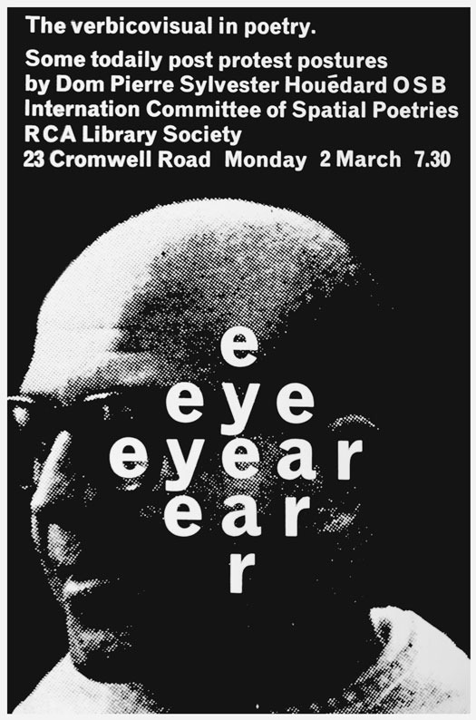 Poster for a lecture at the Royal College of Art, London, March 1964. Designer unknown