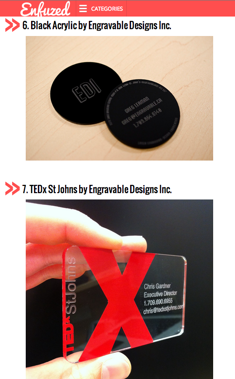 Two Engravable Designs business cards on Enfuzed's list of Unconventional Business Cards!