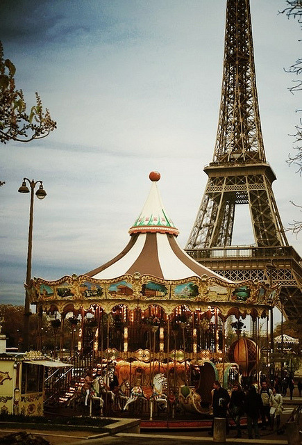 | ♕ |  Eiffel Tower and Paris carousel  | by © Daria Hell | via ysvoice
