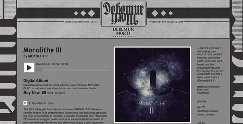 MONOLITHE III is now available on digital format. Feel free to check DEBEMUR MORTI's bandcamp page. A minimum fee of 6 euros is required to legally download the album, or more if you wish to support the band. http://dmp666.bandcamp.com/album/monolithe-iii