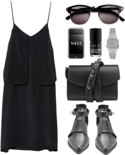 whattwowear:  All black; why not? by endimanche featuring a strappy dress