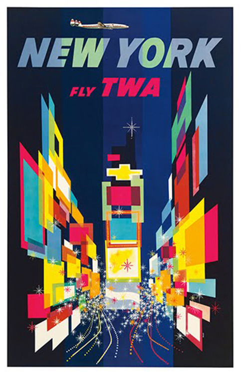 New York Fly TWA Vintage Travel PosterGraphic Design by David Klein; published in 1956
