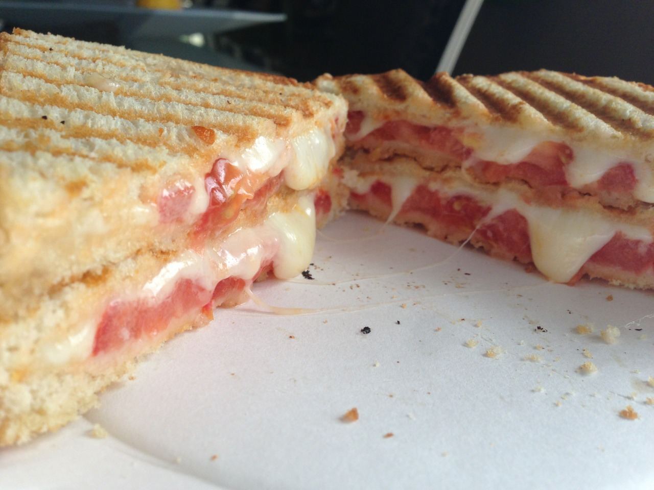 My oozy double D tomato grilled cheese. -Gastrodamus