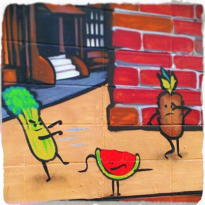 Vegetable on Vegetable crime. #Graffiti #TheOmeletry #StreetArt #SuperVillain