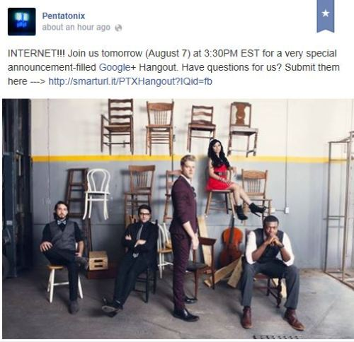 ptxblog:ptxblog:Tune in as we have some BIG NEWS to share with you!Submit questions for the Google+ Hangout HEREThe Hangout will go live tomorrow at 3:30PM EST HERE!Live in half an hourLESS THAN 5 MINUTES!Tune in HERE