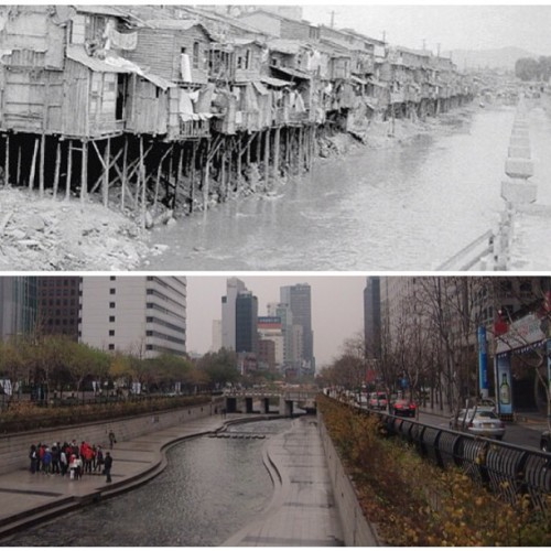 This is Cheonggyecheon Stream in Seoul, South Korea. 50 yrs. ago, it was a dirty creek w/ informal settlers living along the banks, (sounds familiar?) a symbol of urban blight that had to be covered w/ concrete & an expressway built over it. Now it has been developed into a 8-km long waterway park that is a destination for locals & tourists alike & lauded as a success story for urban renewal. Why can't Metro Manila do the same for its esteros & rivers?  from urbanroamer of instagram (Karl Aguilar) really worth sharing. revive Manila! revive the Philippines!