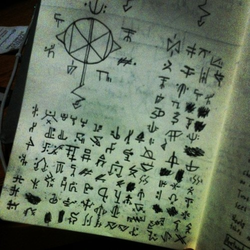 Just spent an hour developing a fake cult language and symbols. #artkidproblems #film #artschool #wow #workin5hours