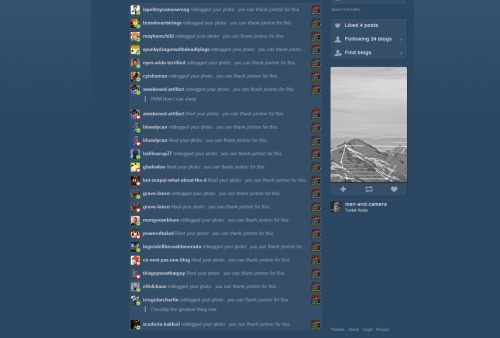 Damn, i come back to Tumblr after a while and see ALL these likes and reblogs. Tank Ya Jontrun.