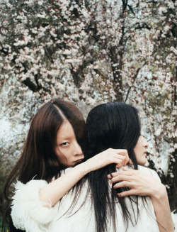 "stopdropandvogue:  Liu Xu and Hyun Yi in ""Where Have All the Flowers Gone?"" for  Dazed & Confused June 2011 photographed by Lina Scheynius"