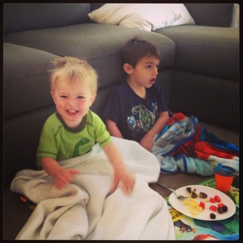 socalledlife:  Excited for picnic breakfasts w his big bro.  LOVE these boys!!