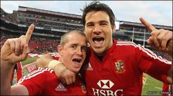 Shane Williams and Mike Phillips  South Africa 9 Lions 28  About fucking time too.