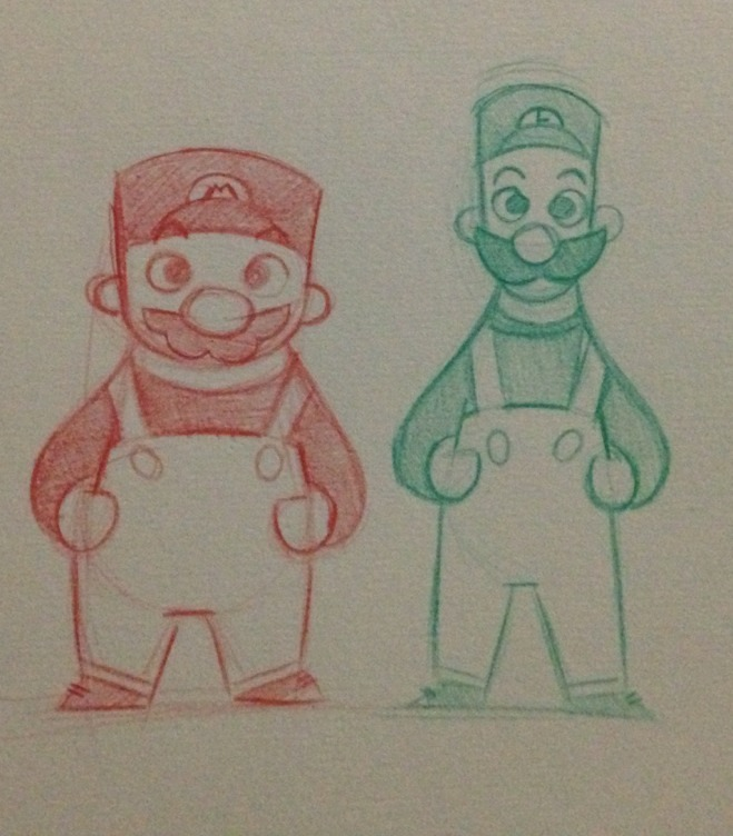 Learning to draw the Mario brothers