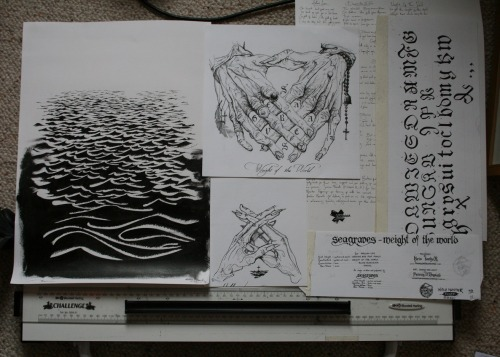 Everything that went into the artwork for Seagraves debut EP, Weight Of The World. Extremely pleased with how this all came together, and the launch show at Santiago's last Friday was a blast. Buy it here: http://witchhunterrecords.bigcartel.com/ and support a fantastic and dedicated label at the same time. It's also heavy as shit. If you like what you see, hit me up for commissions and projects.