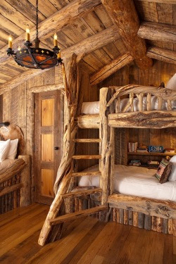 bluepueblo:  Log Cabin Bunk Beds, Montana photo via benjamin  This looks difficult to make… But not impossible!