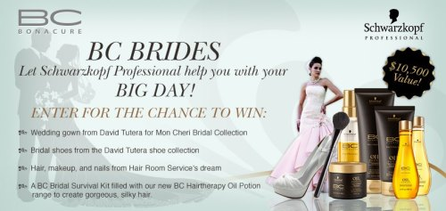 #BCBRIDES pin to win contest.   Bridal season is here! Schwarzkopf is giving away a full bridal package! Pin to win : Wedding gown from David Tutera for Mon Cheri Bridal Collection Bridal Shoes from David Tutera shoe collection Hair, makeup, and nails from Room Service's dream ABC Bridal Survival Kit filled with new BC Hairtherapy Oil Potion to create gorgeous bridal hair Enter and follow Schwarzkopf Professional on Pinterest Today!