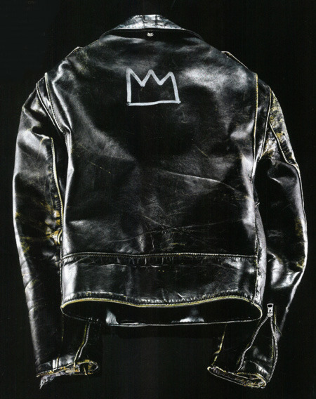 menofhabit:  Glenn O'Brien's leather Schott Perfecto with the Basquiat crown.