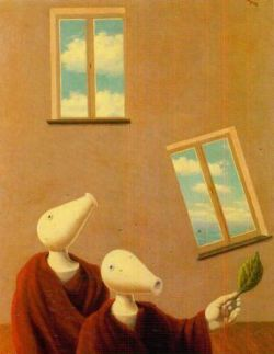 "artisticmoods:  ""The unnatural encounter"", by René Magritte, 1945"