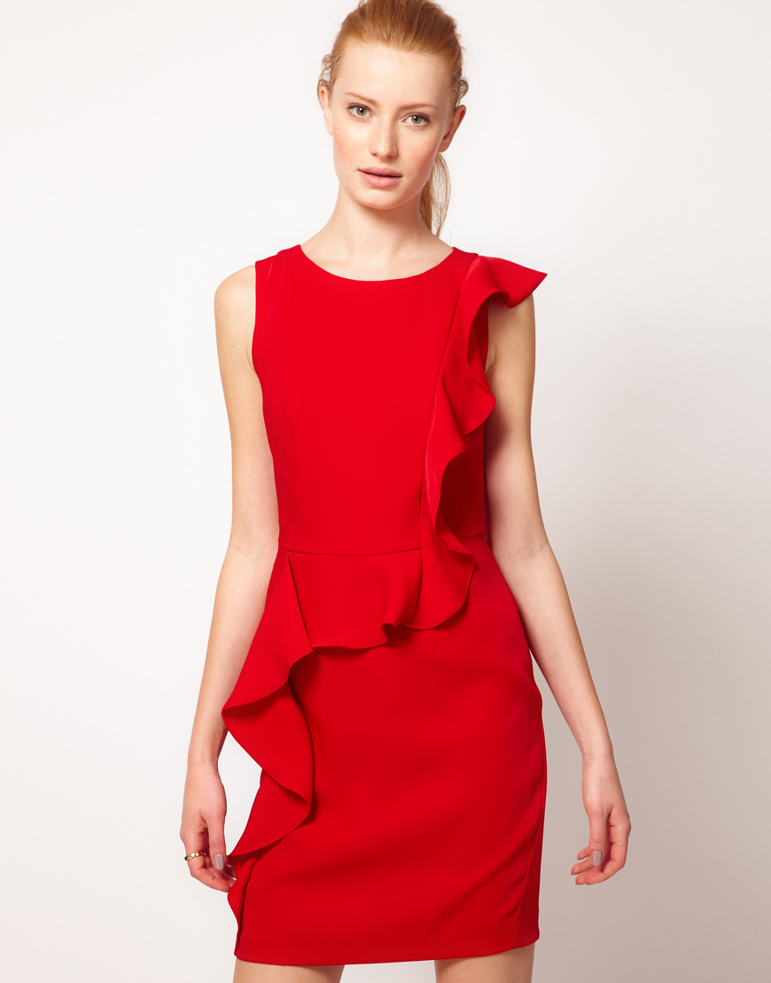 Cheap Frills. Get yourself noticed in the boardroom with this bold dress. The high neckline makes it work appropriate with a cardigan. On sale at Asos for $81.46.