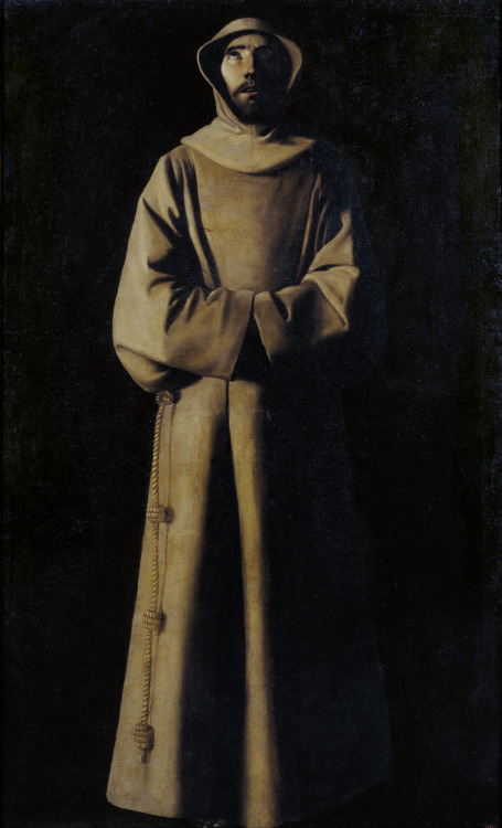 Francisco de Zurbaran - San Francisco de Asis Segun la Vision del Papa Nicolas V (Saint Francis of Assisi According to the Vision of Pope Nicholas V); Museu Nacional d'Art de Catalunya, Barcelona, Spain; c.1640