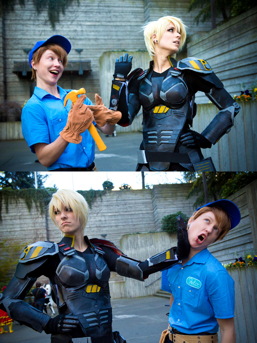 miki800:  Cosplay Wednesday: Sergeant Calhoun & Fix-It Felix Jr I've seen this image make the rounds since yesterday over on facbeook. Well, at least it has on my facebook! But it is so adorable I had to share it here too. Wreck-It Ralph was fantastic and Calhoun was probably my favorite character in the film. How could she not be? I love that no-nonsense, tough lady leader! Cosplay by Sam (Calhoun) and Lucas (Felix). Photography by weatherstone.