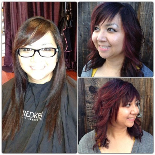 Before & After! #yelp #idigyourhair #idigmyclients #makeover #reinvent #redken #redhair #redviolethair #new #newyou