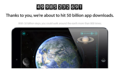 "cnet:  Apple passes 50 billion App Store downloads  FJP: via CNET, ""The person who downloaded the 50 billionth app will get a $10,000 App Store gift card from Apple, and the 50 people who downloaded apps right after that each will receive a $500 gift card."""