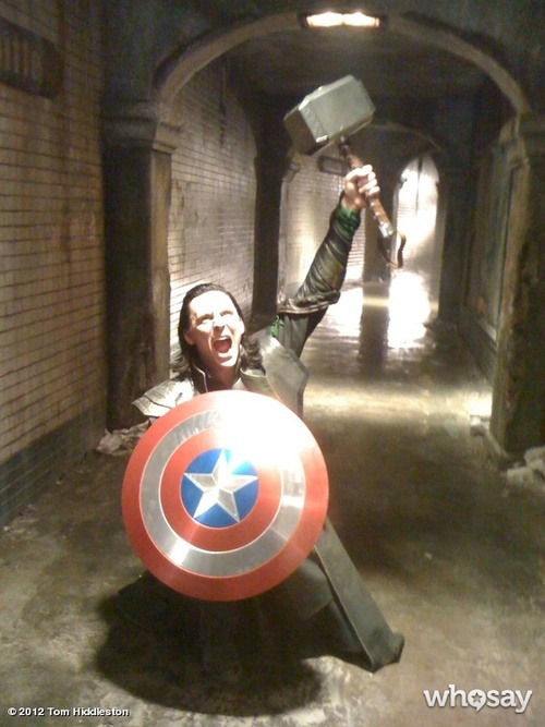 fyeahbehindthescenes:  During one lunch break during the shooting of Avengers, Tom Hiddleston stole Captain America's Shield and Thor's Hammer. He then texted this photo to Chris Hemsworth and Chris Evans and claimed he wouldn't give them back. The Avengers (2012)