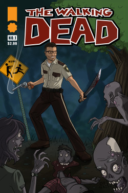 A super fun Walking Dead inspired comic cover I did up for Secret Santa for a co-worker. That's him in the center fo course:) It was a challenge for me but in the end I had a blast creating this.