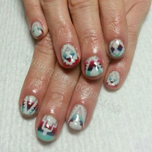 #Pendleton inspired art with #custom blended colors. #nailart #naillife