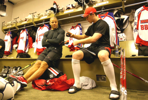 Jonathan Toews and Jarome Iginla at 2009 All Star game.