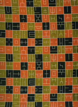 Print Screen: Fabric print by Alvin Lustig-  Alvin Lustig designed this intaglio fabric print in 1949 for L.Anton Maix fabrics. Lustig, best known for his graphic design, was also a well respected interior, furniture and textile designer. In the 1940's and 1950's fabrics designed outside of the textiles industry became more widely produced. A trend for architects, furniture designers, intetior designers, graphic designers and even painters and sculptors trying their hand at fabric design emerged. As the creatives were already established in their fields and understood the principles of modern design it was a natural progression.  www.theimportanceofbeingmodernist.com