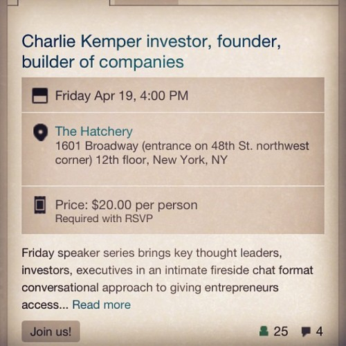 @TheHatchery #Friday #investor series @TheHatchery @CKemper #CharlieKemper #vc #tech #SiliconAlley http://events.hatchery.vc reserve your seat! Followed by #happyhour at #hatchchat #TheHatcheryIncubator (at Times Square)