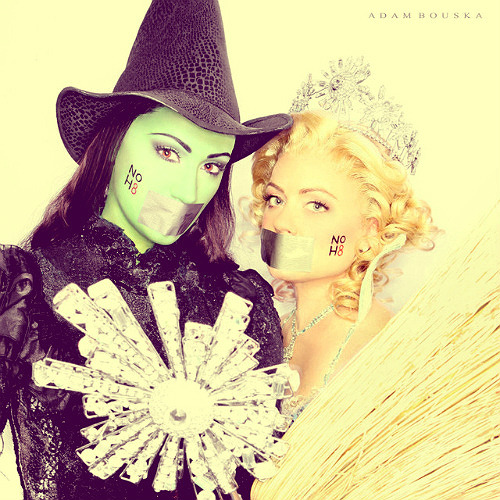 Wicked celebrates the differences and budding friendship between Oz's two most famous witches despite seemingly insurmountable adversity. Even though the two girls are from vastly different backgrounds and their philosophies seem completely different, their experiences together allow them to find what they have in common. Though Wicked is fictional, the messages and themes of the show are something that really embody what NOH8 is all about; anti-discrimination and equal treatment for everybody regardless of race, gender, or sexual orientation