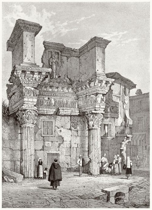 The temple of Pallas, Rome.  Samuel Prout, from Sketches by Samuel Prout, by Charles Holme, London, 1915.  (Source: archive.org)