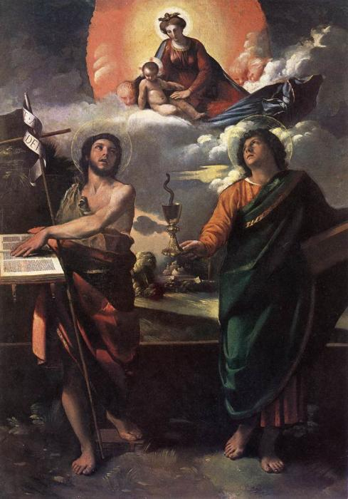 The Virgin Appearing to St. John the Baptist and St. John the Evangelist. by Dosso Dossi