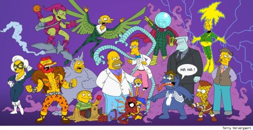 demonsee:  Spider-Man themed Simpsons piece, by artist Terry Ververgaert Read More: http://www.comicsalliance.com/2013/02/07/spider-man-the-simpsons-art-terry-ververgaert/#ixzz2KLWtqsFW
