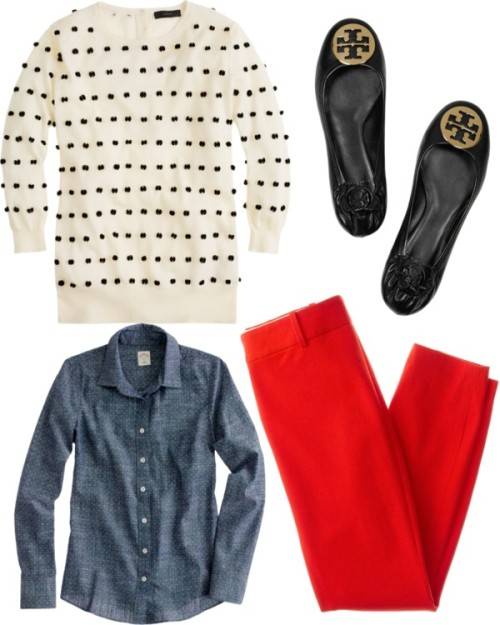 OOTD by southernbelle featuring j crew shirts ❤ liked on PolyvoreJ.Crew j crew shirt / J.Crew j crew blouse / J.Crew j. crew pants / Tory Burch  shoes