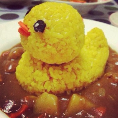 Duck curry rice! So cute to eat! ><! (Photo shared from online)