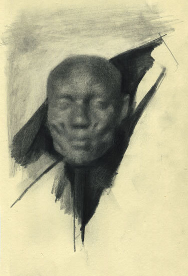 Graphite value study of an ecorche head sculpture for a larger drawing. Trying to find the value relationships.