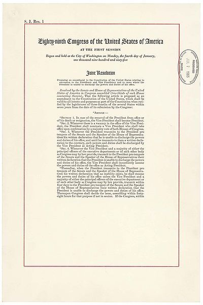 February 10, 1967: Twenty-fifth Amendment is RatifiedOn this day in 1967, the Twenty-fifth Amendment was ratified and added to the U.S. Constitution thirteen days later on February 23. The amendment clarified the role of the Vice President during unique situations. The main points are: