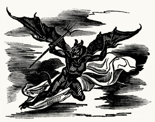 oldbookillustrations:  That's the Devil, most certainly.  Achille Devéria, from Légendes ballades et fabliaux vol. 2, by Pierre-Marie-François Baour-Lormian, Paris, 1829.  A zip file containing the six illustrations of the latest series can be downloaded at this link.  (Source: Bayerische Staatsbibliothek)