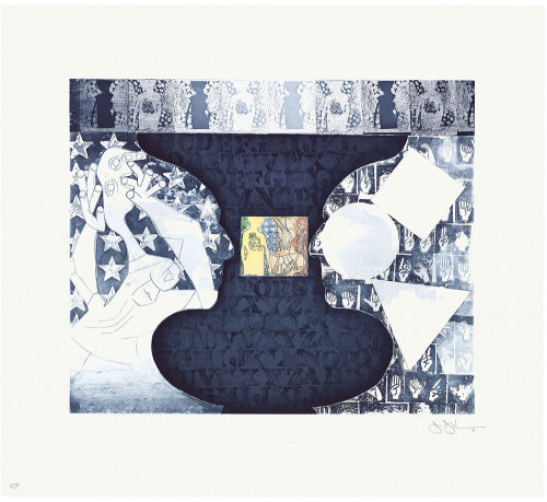 "Shrinky Drink 2 & 3 (2011) Jasper Johns on mashing up images:    ""Do something to it, then do something else to it."""