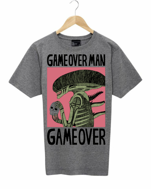 theillustratedmind:  COMPETITION Game over man by Jack Teagle. Now available in grey,and to 'celebrate' we're going to give one away in a either white or grey.  Just REBLOG (THIS) TO WIN and in a couple of days we will pick one winner (maybe even two if we get enough posts) who'll get one of these sent out to them, anywhere in the whole big bad world.  Get Reblogging. Good luck. All that stuff.