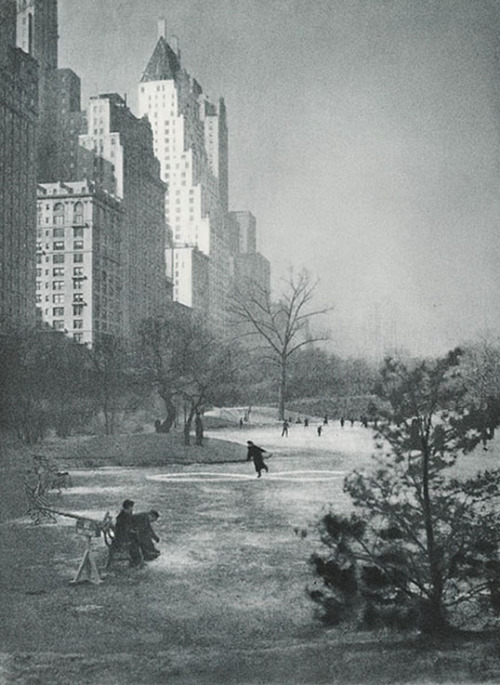 Adolf Fassbender Winter in Central Park, NYC. 1937